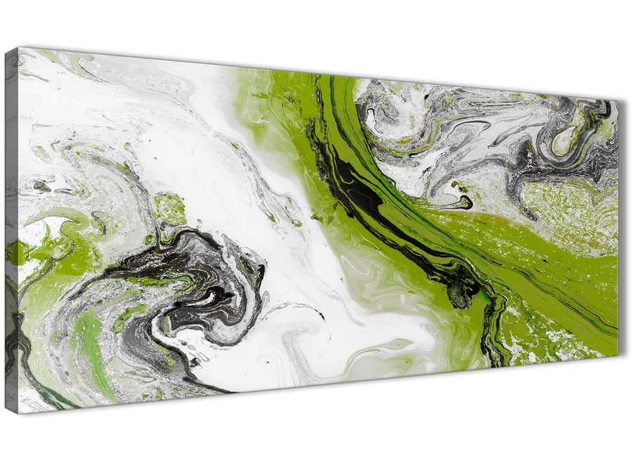 Panoramic Lime Green and Grey Swirl Bedroom Canvas Pictures Accessories - Abstract 1464 - 120cm Print