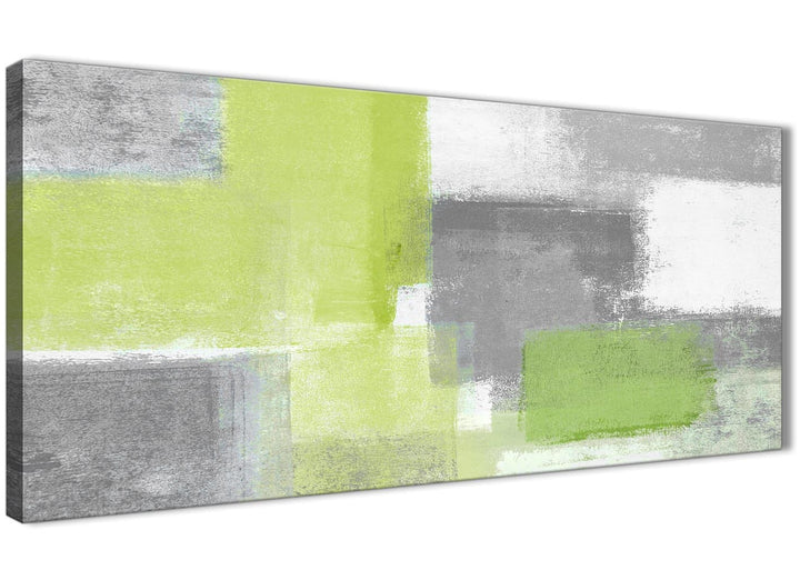 Panoramic Lime Green Grey Abstract - Living Room Canvas Wall Art Accessories - Abstract 1369 - 120cm Print