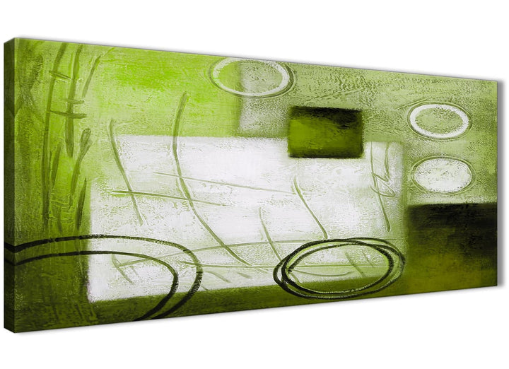 Panoramic Lime Green Painting Living Room Canvas Wall Art Accessories - Abstract 1431 - 120cm Print