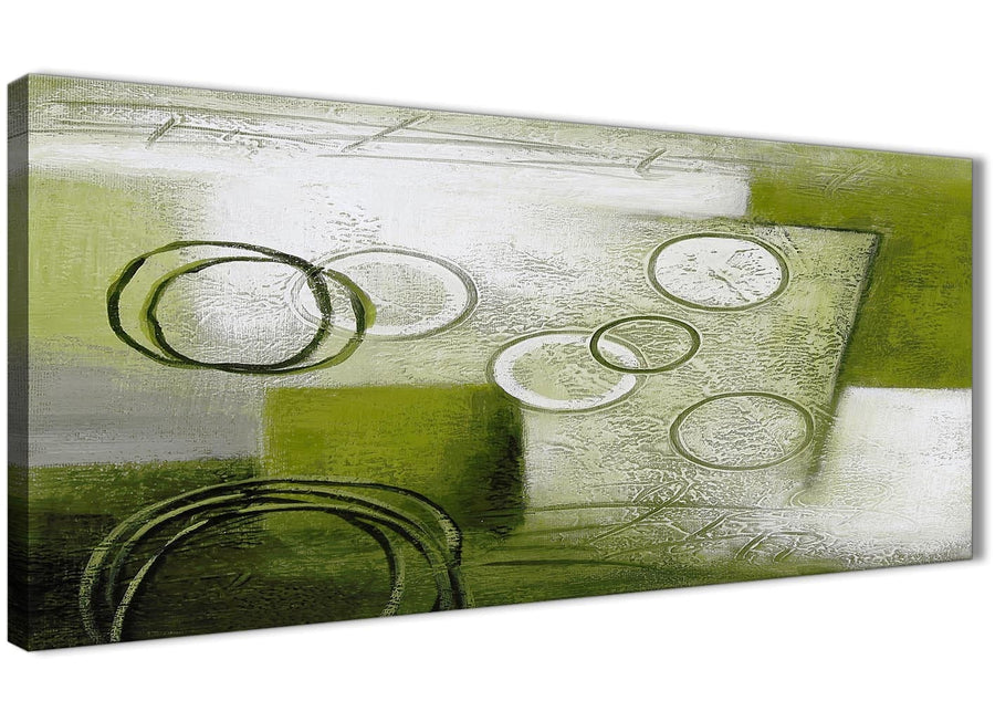 Panoramic Lime Green Painting Living Room Canvas Pictures Accessories - Abstract 1434 - 120cm Print