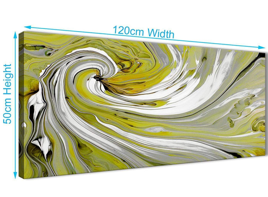 Panoramic Lime Green Swirls Modern Abstract Canvas Wall Art Modern 120cm Wide 1351 For Your Kitchen