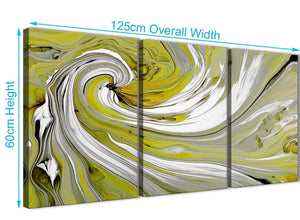 Panoramic Lime Green Swirls Modern Abstract Canvas Wall Art Multi Set Of 3 125cm Wide 3351 For Your Living Room