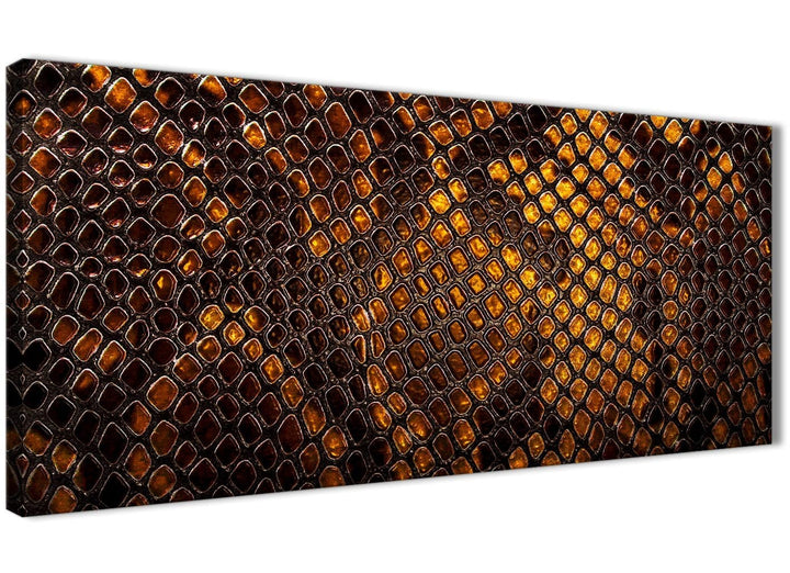 Panoramic Mustard Gold Snakeskin Animal Print Living Room Canvas Wall Art Accessories - Abstract 1474 - 120cm Print