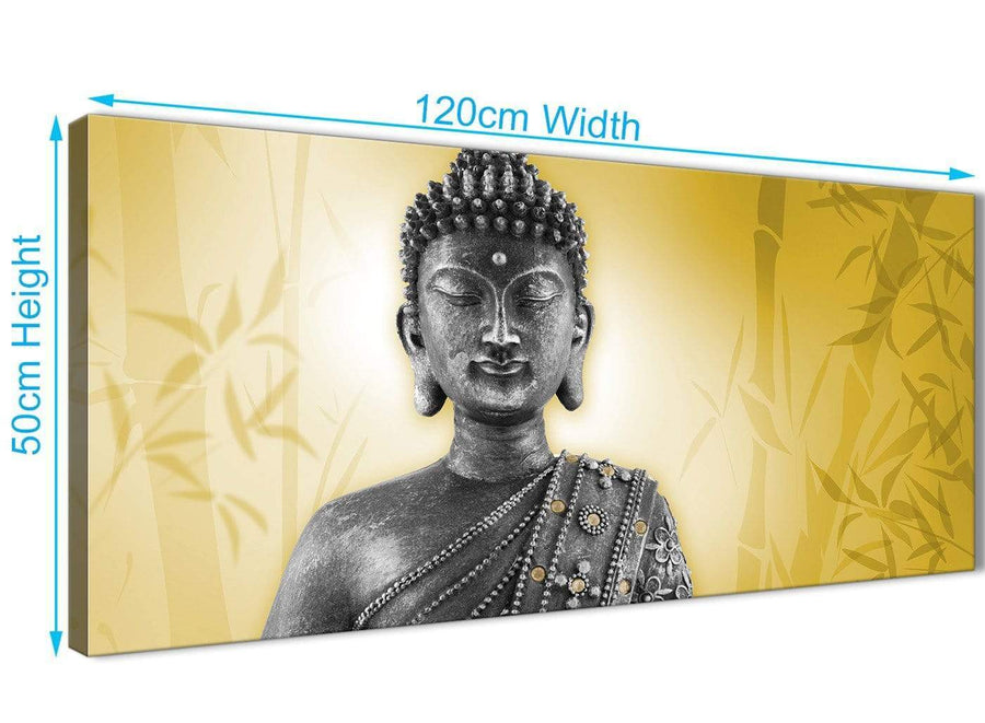 Panoramic Mustard Yellow And Grey Silver Wall Art Print Of Buddha Canvas Modern 120cm Wide 1328 For Your Dining Room