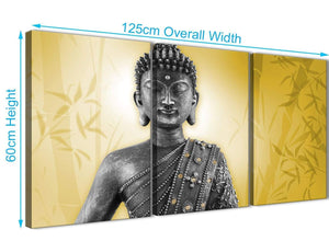 Panoramic Mustard Yellow And Grey Silver Wall Art Print Of Buddha Canvas Multi 3 Panel 3328 For Your Living Room