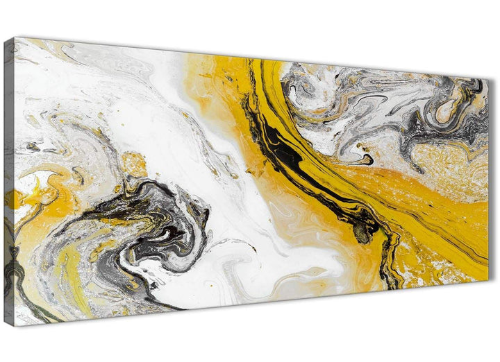 Panoramic Mustard Yellow and Grey Swirl Living Room Canvas Wall Art Accessories - Abstract 1462 - 120cm Print