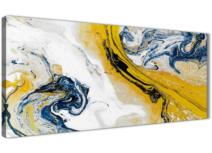 Panoramic Mustard Yellow and Blue Swirl Living Room Canvas Wall Art Accessories - Abstract 1469 - 120cm Print