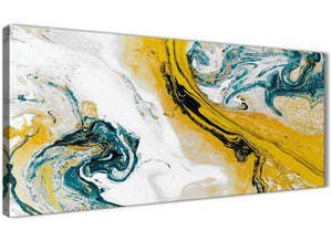 Panoramic Mustard Yellow and Teal Swirl Bedroom Canvas Wall Art Accessories - Abstract 1470 - 120cm Print