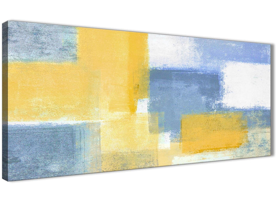 Panoramic Mustard Yellow Blue Living Room Canvas Pictures Accessories - Abstract 1371 - 120cm Print