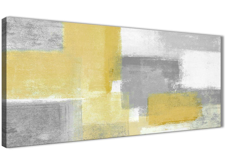 Panoramic Mustard Yellow Grey Living Room Canvas Wall Art Accessories - Abstract 1367 - 120cm Print