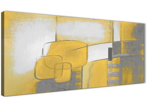 Panoramic Mustard Yellow Grey Painting Bedroom Canvas Pictures Accessories - Abstract 1419 - 120cm Print