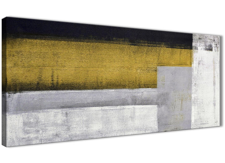 Panoramic Mustard Yellow Grey Painting Living Room Canvas Wall Art Accessories - Abstract 1425 - 120cm Print