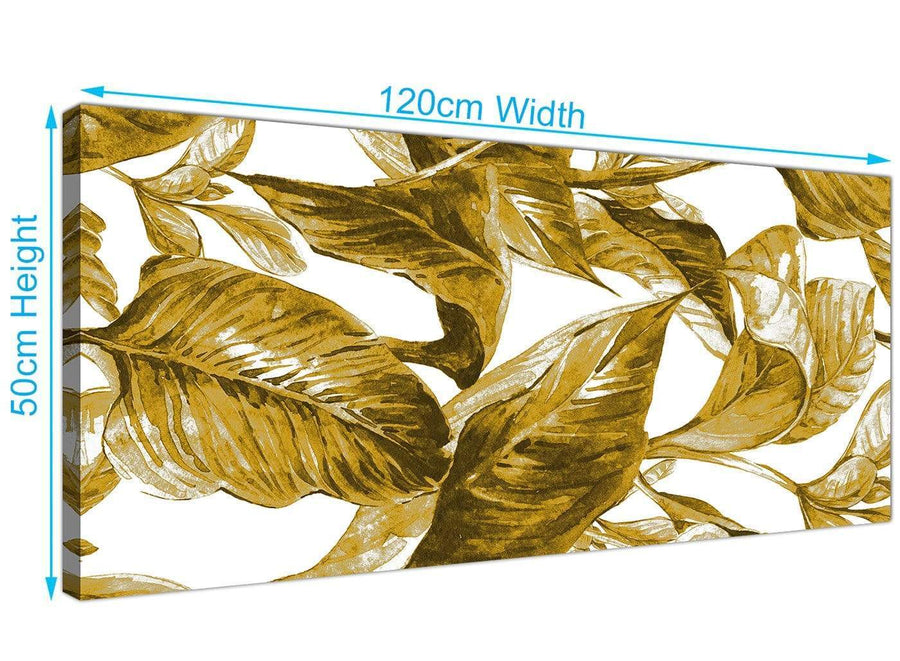 Panoramic Mustard Yellow White Tropical Leaves Canvas Modern 120cm Wide 1318 For Your Living Room
