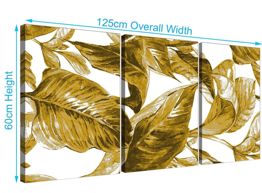 Panoramic Mustard Yellow White Tropical Leaves Canvas Split 3 Panel 3318 For Your Dining Room