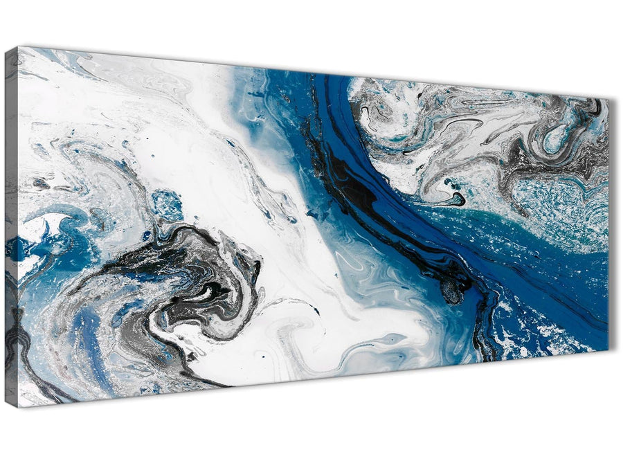 Panoramic Blue and Grey Swirl Living Room Canvas Wall Art Accessories - Abstract 1465 - 120cm Print