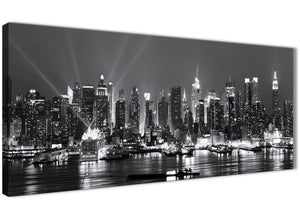 Panoramic New York Hudson River Skyline Canvas Art Pictures - Landscape - 1435 Black White Grey - 120cm Wide Print