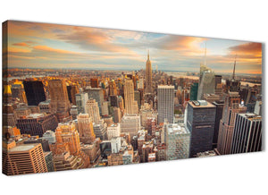 Panoramic New York Skyline Sunset Manhattan Cityscape - Canvas Art Pictures - Landscape - 1202 - 120cm Wide Print