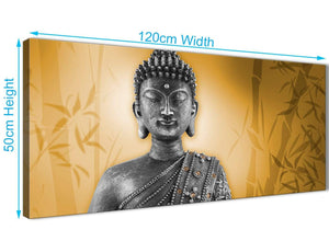 Panoramic Orange And Grey Silver Wall Art Prints Of Buddha Canvas Modern 120cm Wide 1329 For Your Hallway
