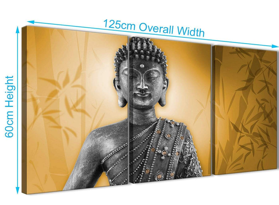 Panoramic Orange And Grey Silver Wall Art Prints Of Buddha Canvas Split Set Of 3 3329 For Your Living Room