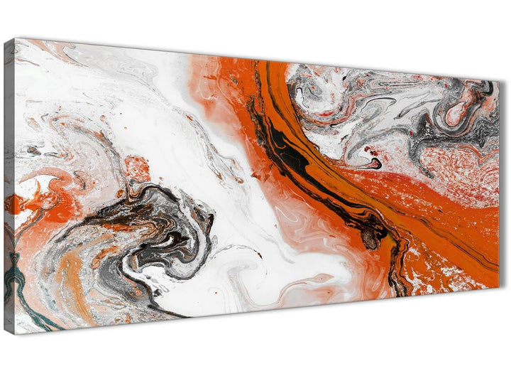 Panoramic Orange and Grey Swirl Bedroom Canvas Wall Art Accessories - Abstract 1461 - 120cm Print