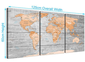 Panoramic Orange Cream Large Orange Grey Map Of World Atlas Canvas Wall Art Print Maps Canvas Multi Triptych 3304 For Your Dining Room