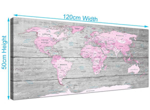 Cheap Pink Grey Large Pink Grey Map Of World Atlas Canvas Wall Art Print – Maps Canvas Modern 120cm Wide 1302 For Your Kitchen