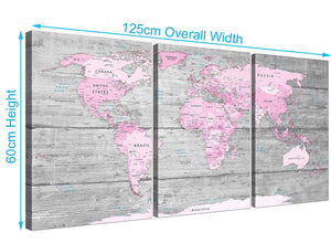 Panoramic Pink Grey Large Pink Grey Map Of World Atlas Canvas Wall Art Print – Maps Canvas Multi 3 Panel 3302 For Your Study