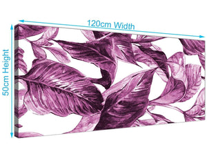 Panoramic Plum Aubergine White Tropical Leaves Canvas Modern 120cm Wide 1319 For Your Living Room