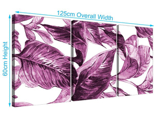 Panoramic Plum Aubergine White Tropical Leaves Canvas Multi 3 Set 3319 For Your Girls Bedroom