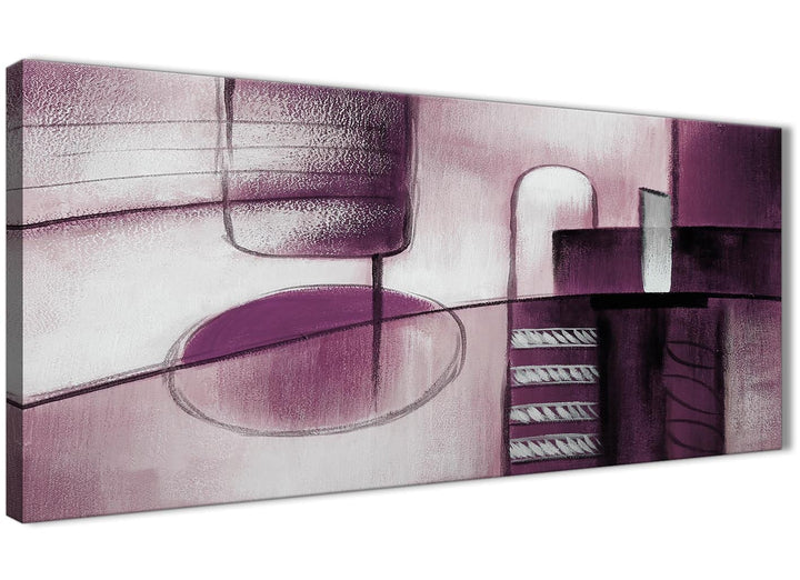 Panoramic Plum Grey Painting Living Room Canvas Wall Art Accessories - Abstract 1420 - 120cm Print