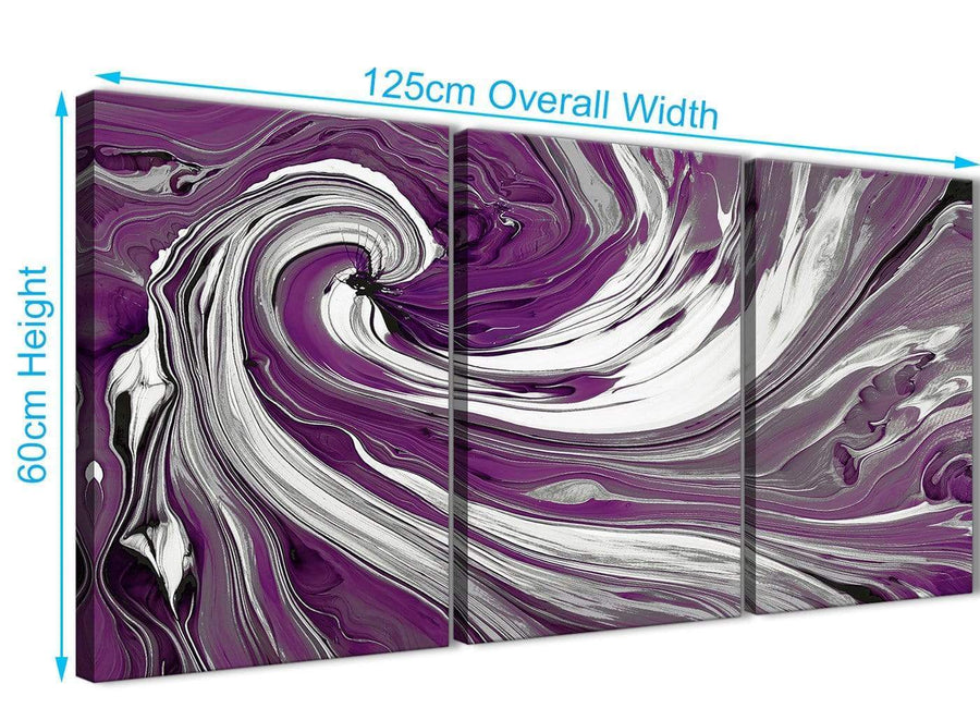 Panoramic Plum Purple White Swirls Modern Abstract Canvas Wall Art Split 3 Set 125cm Wide 3353 For Your Living Room