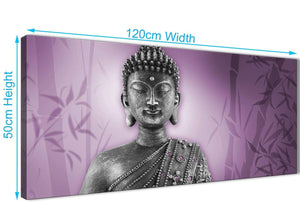 Panoramic Purple And Grey Silver Wall Art Prints Of Buddha Canvas Modern 120cm Wide 1330 For Your Hallway