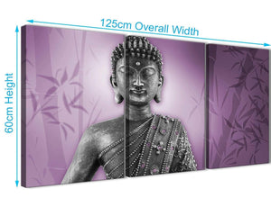 Panoramic Purple And Grey Silver Wall Art Prints Of Buddha Canvas Multi 3 Part 3330 For Your Dining Room