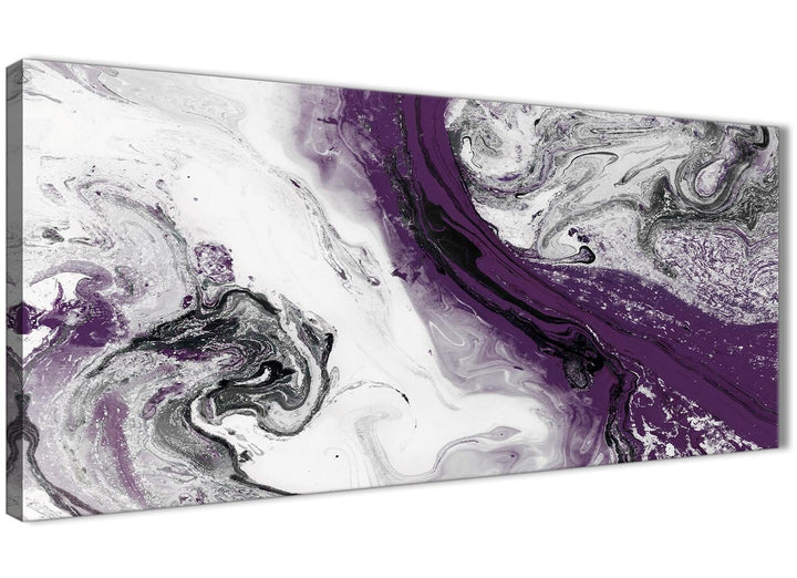 Panoramic Purple and Grey Swirl Bedroom Canvas Pictures Accessories - Abstract 1466 - 120cm Print
