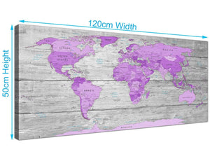 panoramic purple grey large purple and grey map of world atlas canvas wall art print maps canvas modern 120cm wide 1298 for your girls bedroom