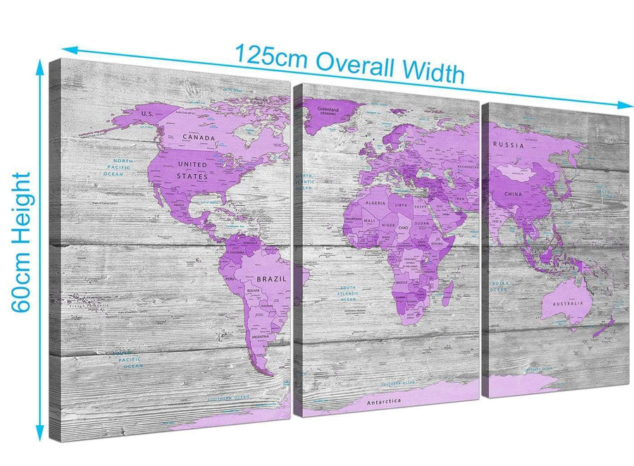 panoramic purple grey large purple and grey map of world atlas canvas wall art print maps canvas split 3 set 3298 for your teenage girls bedroom