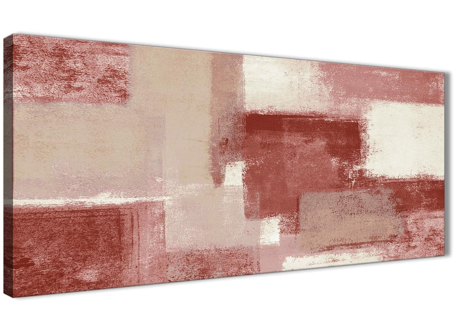 Panoramic Red and Cream Living Room Canvas Wall Art Accessories - Abstract 1370 - 120cm Print