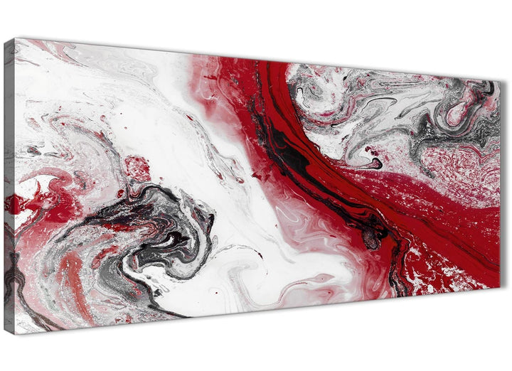 Panoramic Red and Grey Swirl Bedroom Canvas Pictures Accessories - Abstract 1467 - 120cm Print