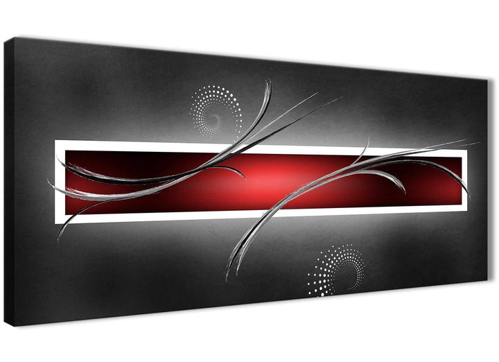 Panoramic Red Black Grey White Modern Abstract Canvas Bedroom Canvas Wall Art Accessories - Abstract 1091 - 120cm Print