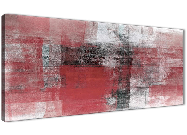 Panoramic Red Black White Painting Living Room Canvas Wall Art Accessories - Abstract 1397 - 120cm Print