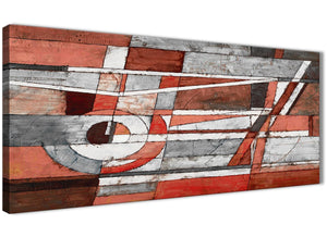 Panoramic Red Grey Painting Living Room Canvas Wall Art Accessories - Abstract 1401 - 120cm Print