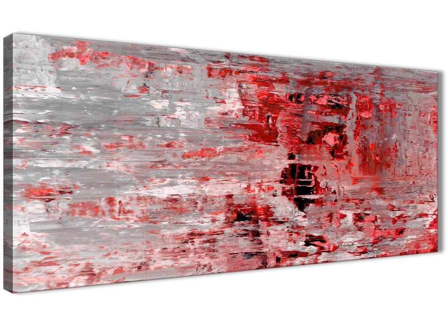 Panoramic Red Grey Painting Living Room Canvas Wall Art Accessories - Abstract 1414 - 120cm Print