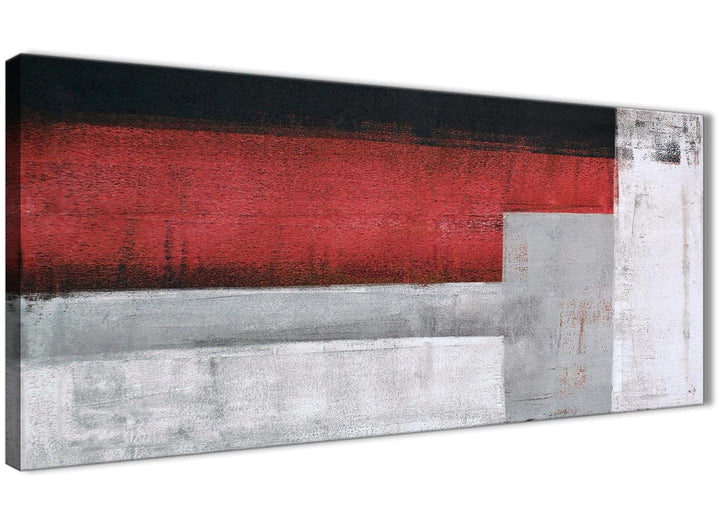 Panoramic Red Grey Painting Living Room Canvas Pictures Accessories - Abstract 1428 - 120cm Print