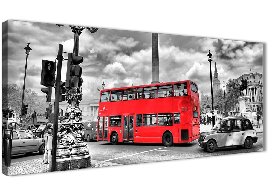 Panoramic Red London Bus - Street Scene Cityscape Living Room Canvas Wall Art Accessories - 1210 - 120cm Print
