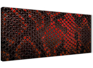 Panoramic Red Snakeskin Animal Print Living Room Canvas Pictures Accessories - Abstract 1476 - 120cm Print