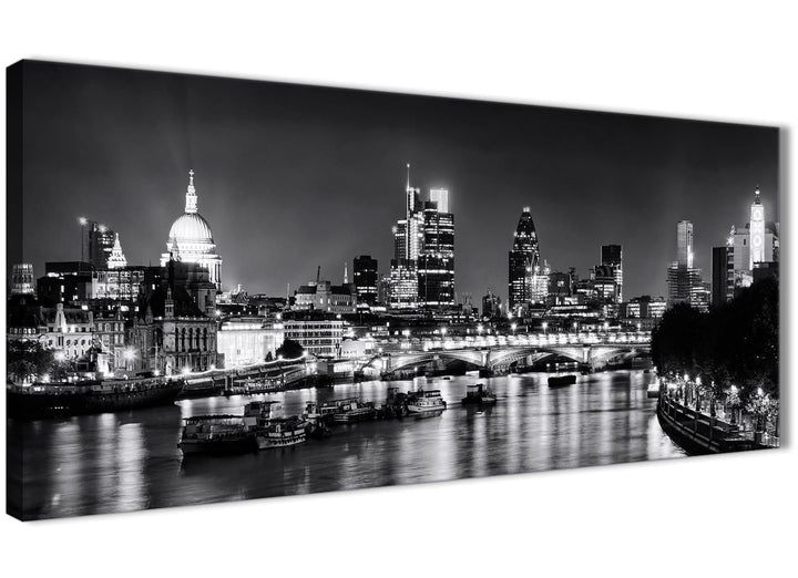Panoramic River Thames Skyline of London Canvas Wall Art - Landscape - 1430 Black White Grey - 120cm Wide Print