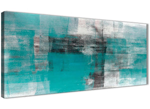 Panoramic Teal Black White Painting Bedroom Canvas Wall Art Accessories - Abstract 1399 - 120cm Print