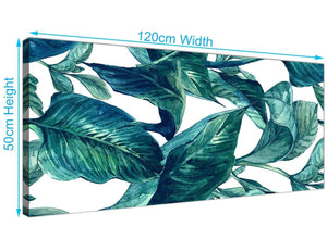 Panoramic Teal Blue Green Tropical Exotic Leaves Canvas Modern 120cm Wide 1325 For Your Dining Room