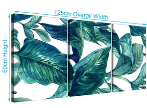 Panoramic Teal Blue Green Tropical Exotic Leaves Canvas Multi 3 Panel 3325 For Your Bedroom