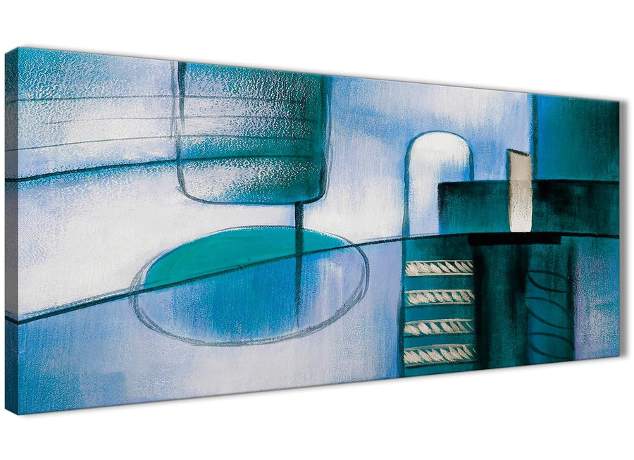 Panoramic Teal Cream Painting Living Room Canvas Wall Art Accessories - Abstract 1417 - 120cm Print